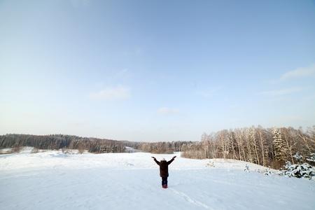 Person in winter landscape. photo