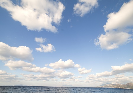 Clouds over gulf of Naples, Tyrrhenian sea, Italy. photo
