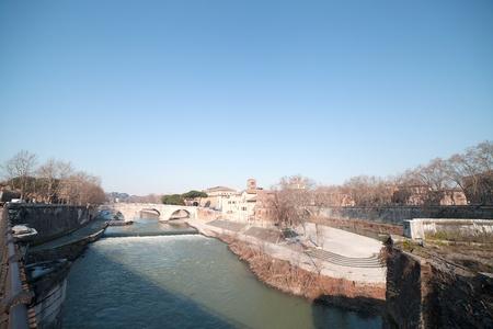 tiber: Tiber river in Rome, Italy.