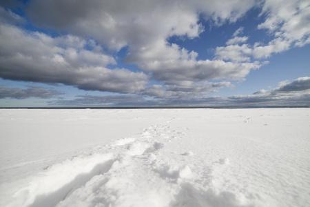 Baltic sea in winter, gulf of Riga , Latvia.