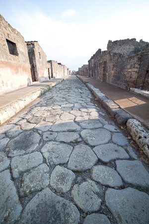 Street in Pompeii ruins, Italy  photo