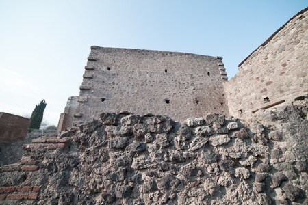 Walls in Pompeii ruins, Italy  photo