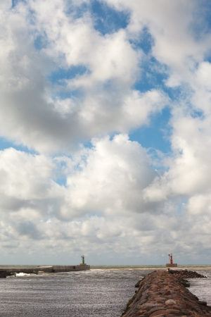 Gate of small port Pavilosta, Baltic sea, Latvia  photo