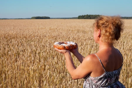 Pie in woman s hands against wheat field  photo