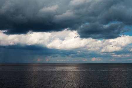 Dark clouds over sea  photo