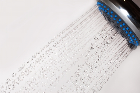 Shower head and and falling water drops