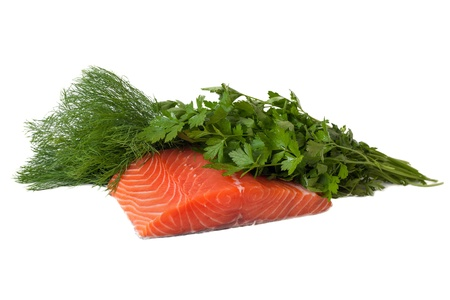 Salmon fillet, dill and parsley isolated on white  photo