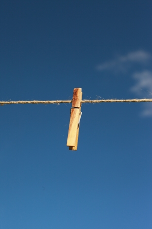Clothespin on string Stock Photo - 15043120