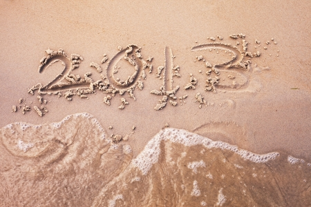 Number 2013 on sand  photo
