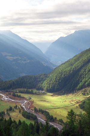 Green valley dans les Alpes du Sud, Suisse