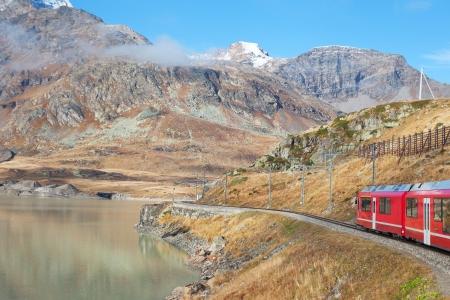 Train in Alps, Switzerland  photo