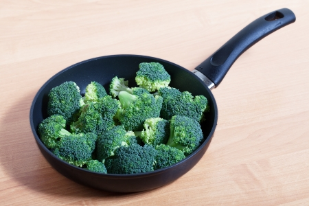 coocing: Green broccoli on pan before coocing  Stock Photo