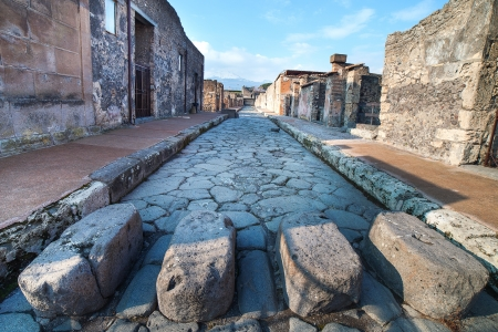 Street in ancient roman city Pompeii, Italy  Stock Photo