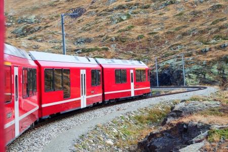 Train in Alps, Switzerland, Europe  photo