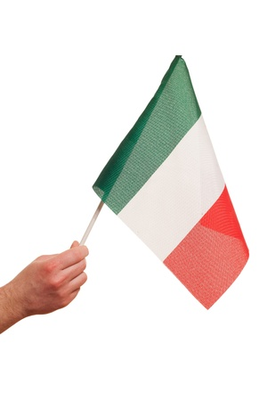Italy flag in hand on white background  photo