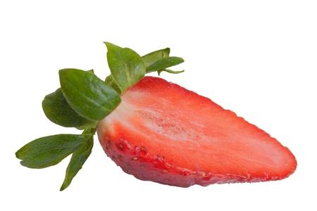 Half of strawberry isolated on white background   photo