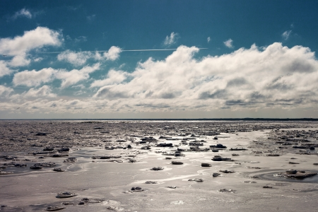 Sunshine over ice in Baltic sea Stock Photo - 18519725