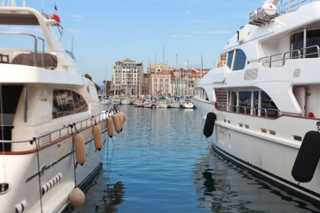 Yachts in Cannes harbor, France  photo