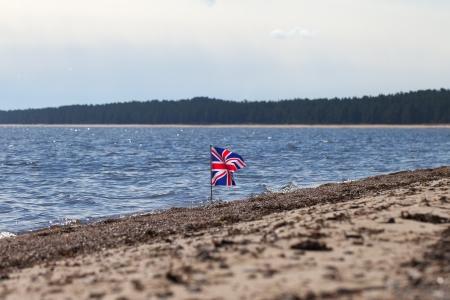 union beach: Flag of United Kingdom at United Kingdom coast