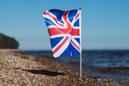Flag of United Kingdom at United Kingdom coast  photo