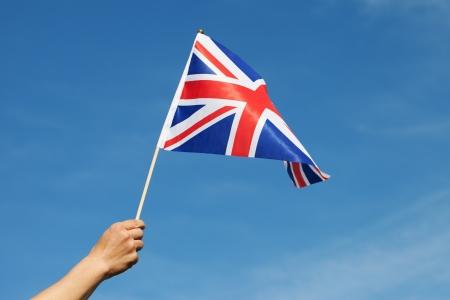 United Kingdom flag in hand  photo