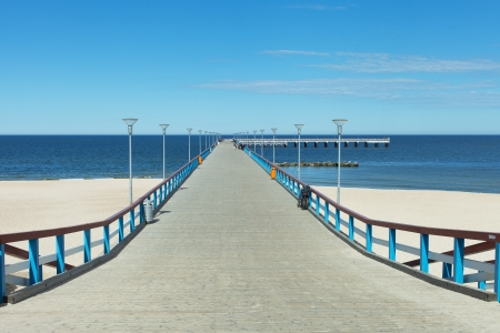 Wooden bridge in Baltic sea, Palanga city, Lithuania , Europe  photo