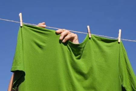Drying of shirts in nice and sunny day. photo