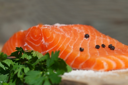 Closeup of fresh salmon fillet. photo
