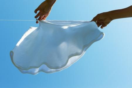 White shirt drying on clothesline. photo
