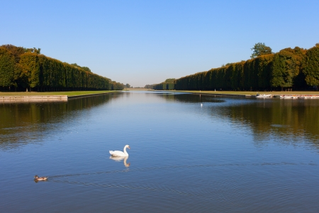 Morning in park of Versailles palace, France. photo