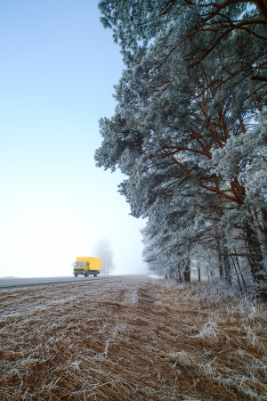 Cold and foggy road in winter time. photo