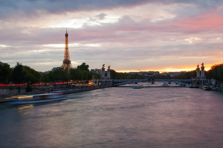 bright sky: Sunset on Seine river, Paris, France. Editorial