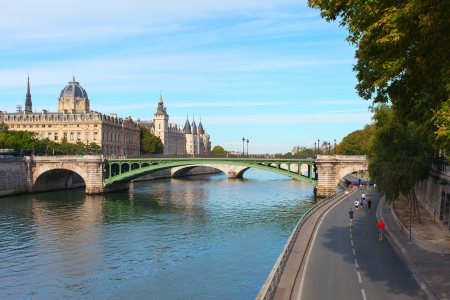 Morning on Seine river in Paris, France. photo