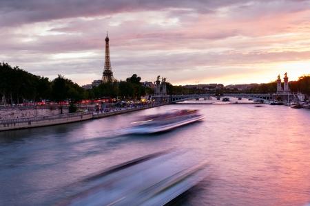 Evening on Seine river, Paris, France. photo