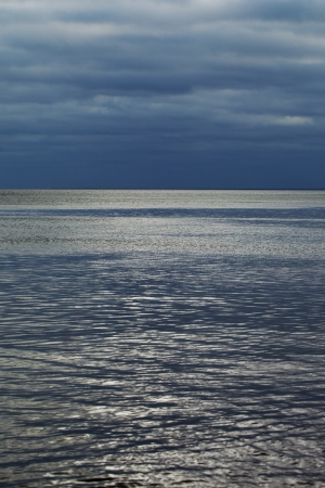 Dark clouds over gulf of Riga, Baltic sea. photo