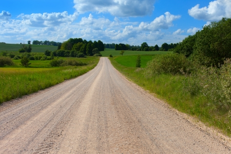 Rural road in hot summer day.