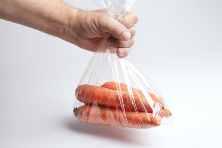 Carrots in plastic bag , Archivio Fotografico