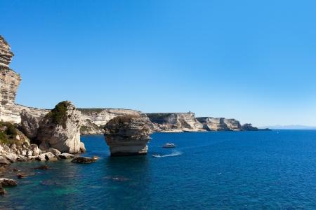 Cliffs at Bonifacio, Corsica coast, France.