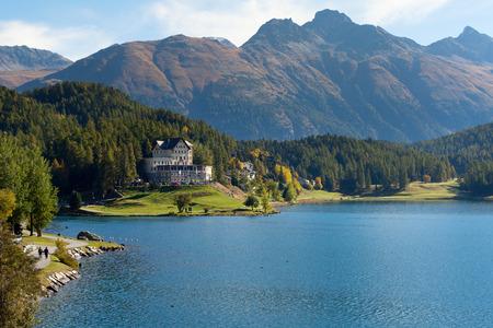 Coast of St. Moritz lake, Switzerland, Europe.