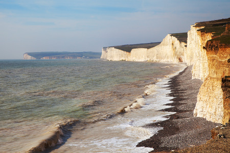Seven Sisters chalk cliffs on Englands south coast, United Kingdom.