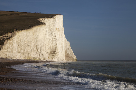 Seven Sisters chalk cliffs on Englands south coast, United Kingdom.