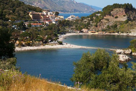 bella: Isola Bella beach near Taormina, Sicily, Italy. Stock Photo