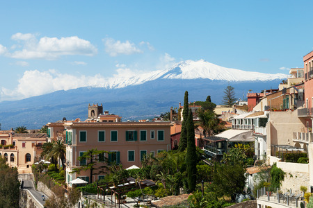 View to Etna volcano from Taormina city, Sicily, Italy. Stock Photo