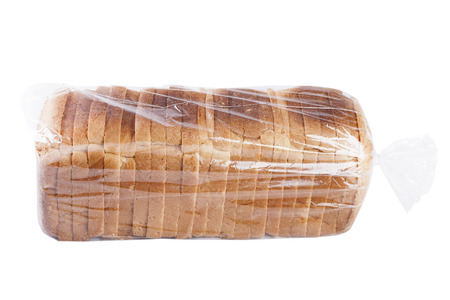Bread in plastic bag isolated on white background.
