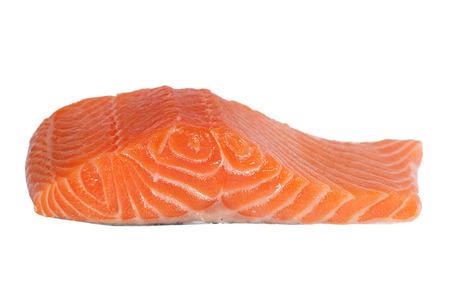Fresh salmon fillet isolated on white. photo