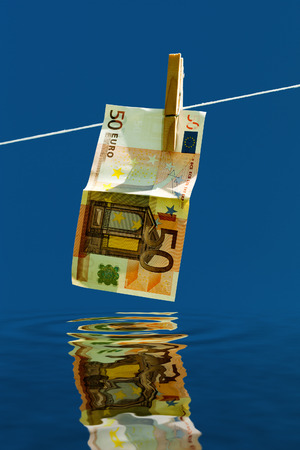 Drying of money after laundering. photo