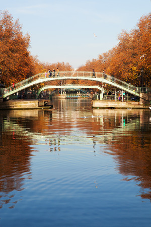 pedestrian bridges: Pedestrian bridges over canal Saint Martin,Paris, France. Stock Photo