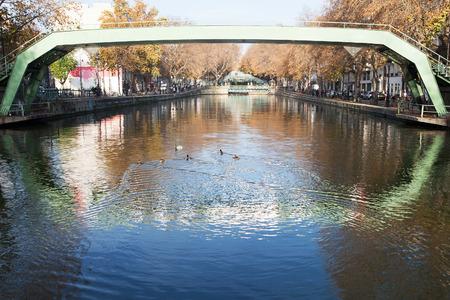 saint martin: Pedestrian bridges over canal Saint Martin,Paris, France. Stock Photo