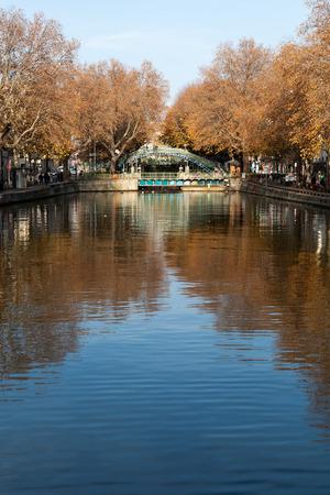 saint martin: Autumn over canal Saint Martin,Paris, France.