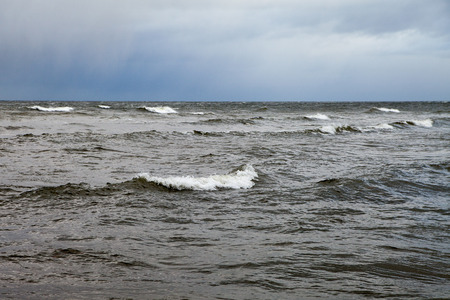 Waves in dark Baltic sea.